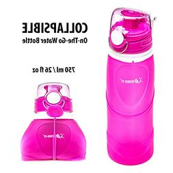 Bend-It Travel Collapsible Pink Water Bottle - Silicone BPA