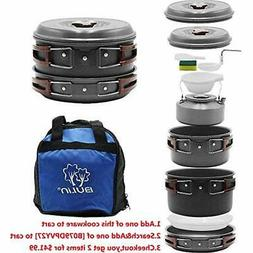 Compact Camping Cookware Mess Kit Outdoor Backpacking Hiking