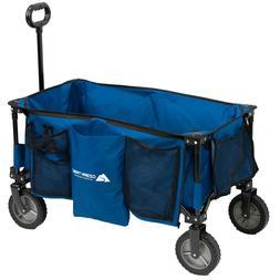 Compact Size Quad Folding Wagon Big Blue Cart Camping Gear w