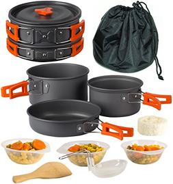 Wealers Camping Cookware Outdoor Mess Kit| 3 Pot Set | Backp
