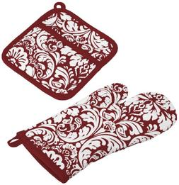 "DII Cotton Damask Oven Mitt 12 x 6.5"" and Pot Holder 8.5 x 8"