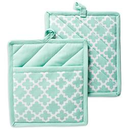 "DII Cotton Lattice Pot Holders, 9 x 8"" Set of 2, Machine Was"