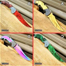 "CSGO 8"" BACKLOCK POCKET KNIFE FOLDING HUNTING TACTICAL KNIFE"