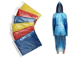 ShoppeWatch Disposable Rain Ponchos with Hood and Sleeves Fa