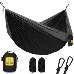 Wise Owl Outfitters Double 2-Person Camping Hammock Black &