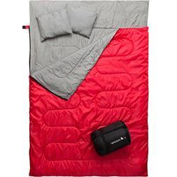 MalloMe Double Camping Sleeping Bag - 3 Season Warm & Cool W