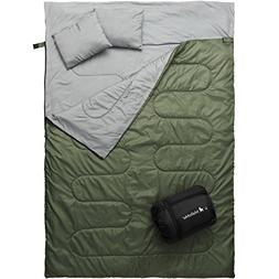 MalloMe Double Camping Sleeping Bag - 3 Season Warm & Cool W