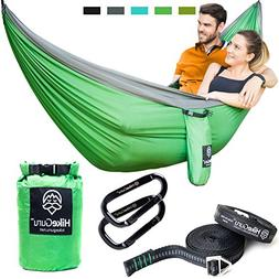 Double Hammock with Tree Straps and Carabiners - by HikeGuru