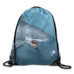 Unisex Drawstring Backpack Gym Bag - Shark Under The Sea Oce