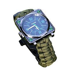 ElevinOutdoor Survival Emergency Paracord Compass Bracelets