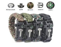 Emergency Paracord Bracelets by Aimic, 4 Different Color Pac