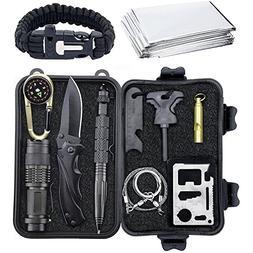 Emergency Survival Gear Kits 10 in 1 - Paracord Bracelet/Kni