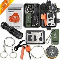 Emergency Survival Kit, Monoki 9-In-1 Compact Outdoor Surviv