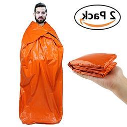 Emergency Survival Sleeping Bag Bivy Sack 2 Pack Waterproof