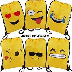 Emoji Drawstring Shoulder Backpack Bag Bulk for Girl & Boy,