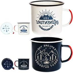 Adventure Enamel Camping Mug - 2 Pack LARGE 16oz of Love, Mo