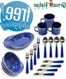 enamel camping tableware set
