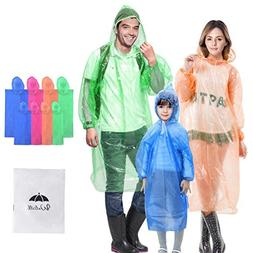 Walsilk 8 Pack Family Pack Disposable Rain Ponchos with Hood