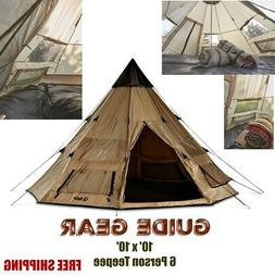 Family Large Camping Hunting Teepee Tent 14x14 6 Person Guid