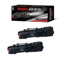 Gold Armour LED Tactical Flashlight 2 PACK with Belt Clip -