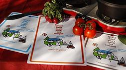 Camping For Foodies Flexible Cutting Mats With Retro RV Camp