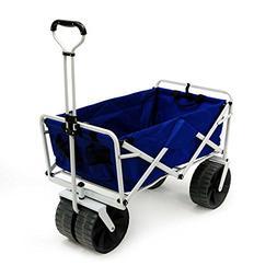 Folding Beach Wagon All Terrain Blue Collapsible Kart Foldab