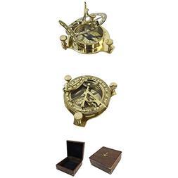 Armor Venue Folding Brass Sun Dial Compass w/Wooden Case Out