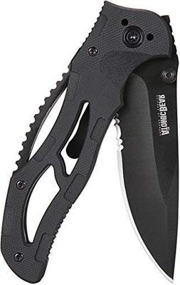 ATOMIC BEAR Survival Knife with Half Serrated Stainless Stee