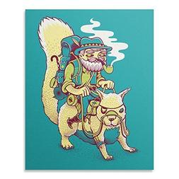 Funny Pirate Squirrel Prospector Art Print Cool Backpacking