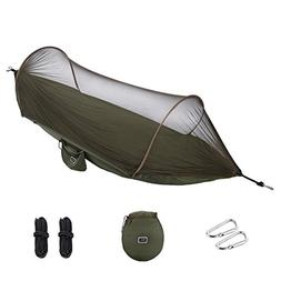 isYoung Hammock with Mosquito Net Parachute Fabric Hammock N