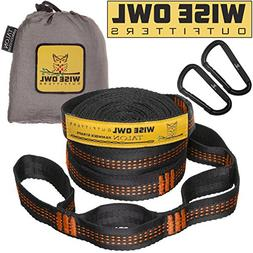 Wise Owl Outfitters Hammock Tree Straps Black w/ Orange 10'