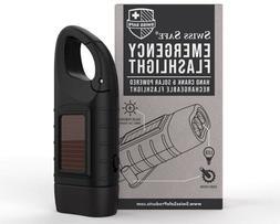 Hand Crank Solar Powered & Rechargeable LED Flashlight Campi