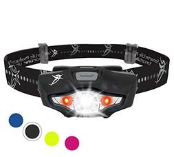 LED Headlamp Headlight - 6 White and Red Head Lamp Modes - 1