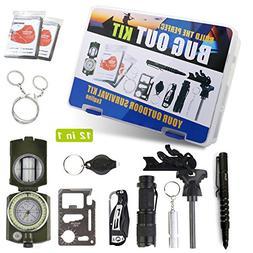 Exqline Survival Kit, Portable Emergency Survival Gear 12 in