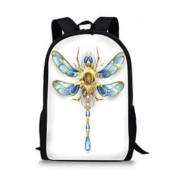 iPrint School Bags Dragonfly,Close up View Mechanical Dragon