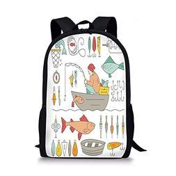 iPrint School Bags Nautical Decor,Fishing Gear Fisherman in