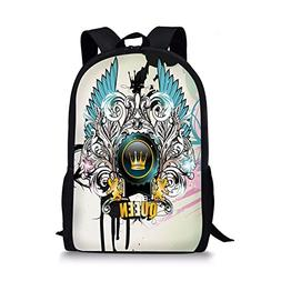 iPrint School Bags Queen,Artistic Design Arms Shield Crown W