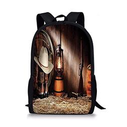 iPrint School Bags Western,Cowboy Gear White Hat Boots Rifle