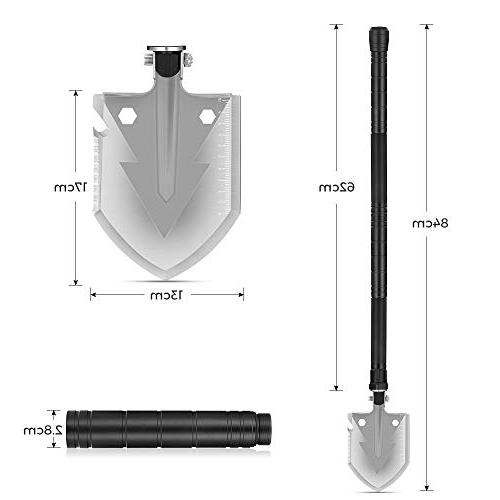 NACATIN All-in-1 33.1 Military Shovel Duty Survival Camping Equipment Tools with Knife, Ice Bits