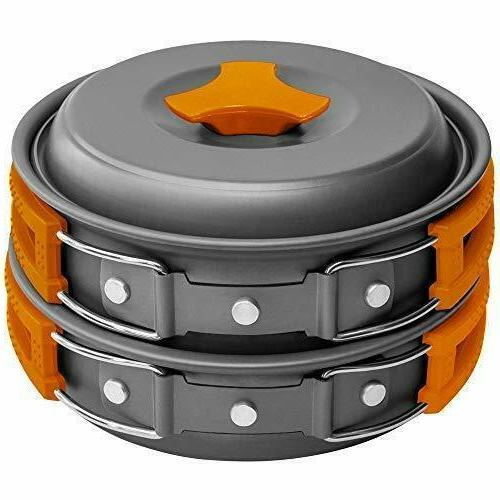 10pcs camping cookware mess kit backpacking gear