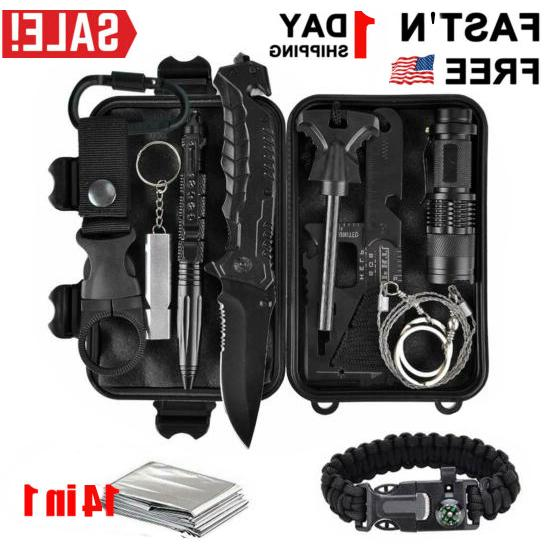 14 pcs outdoor camping military emergency kit