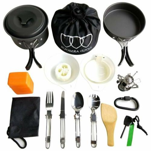 17 pieces camping cookware backpacking gear