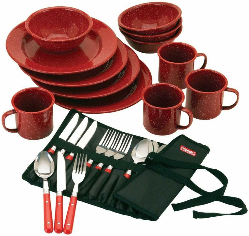 24 piece enamel dinnerware set red camping