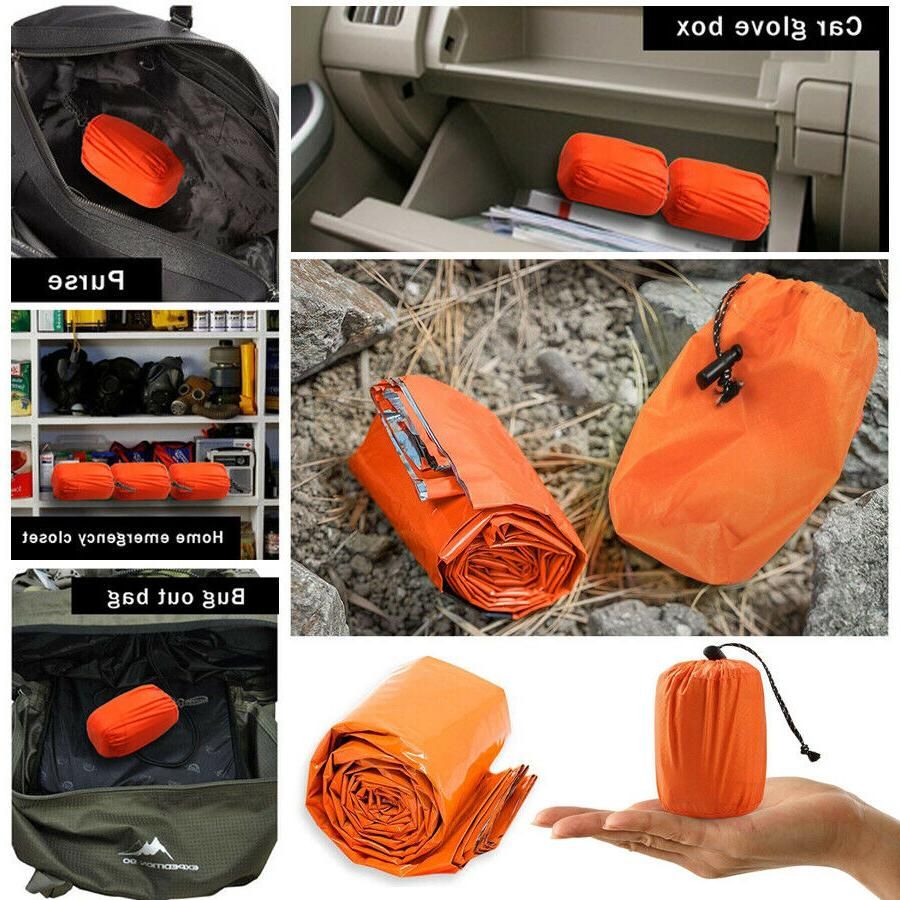 2Pcs Thermal Emergency Sleeping Bag Outdoor Gear For