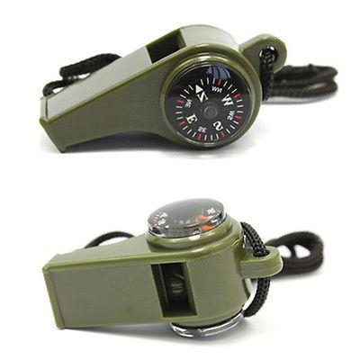 3 in1 Whistle Compass Thermometer Outdoor Camping Hiking Eme