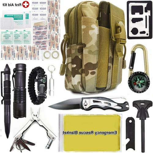 Camping Survival Kit in Outdoor Tactical Backpack
