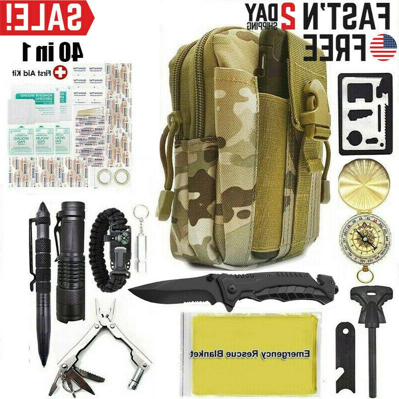 40 in 1 outdoor camping survival kit
