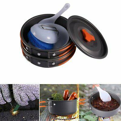 8pcs Camping Cookware Kit Kit Outdoor Compact Backpacking