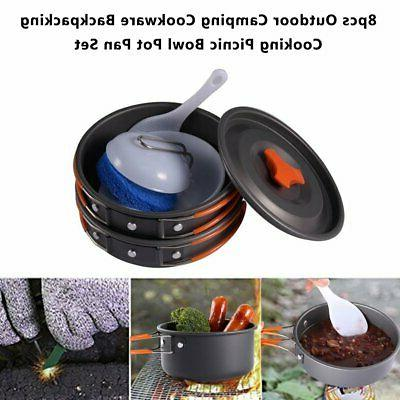 8pcs Kit Cookset Camp Outdoor Backpacking