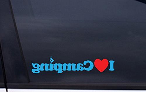 """I LOVE CAMPING vinyl decal 1.5""""x8"""" BLUE and RED Free Shippin"""